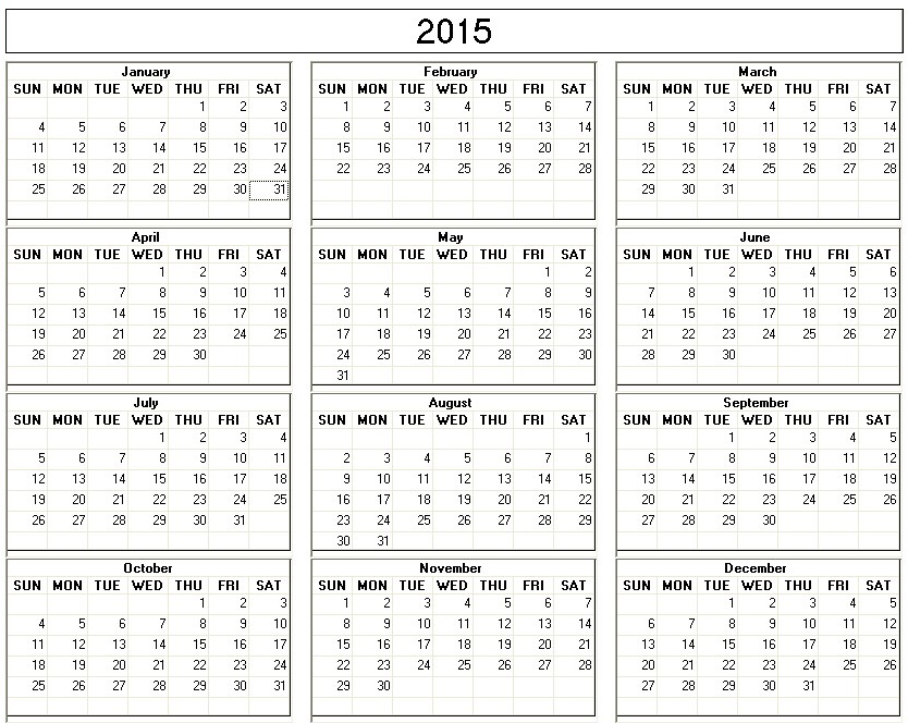 Yearly 2015 Printable Calendar balc and white week starts on Sunday