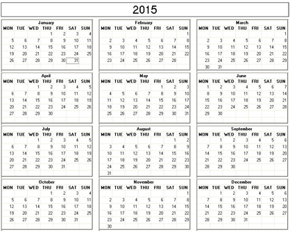 Yearly 2015 Printable Calendar - black and white weekday starts Monday