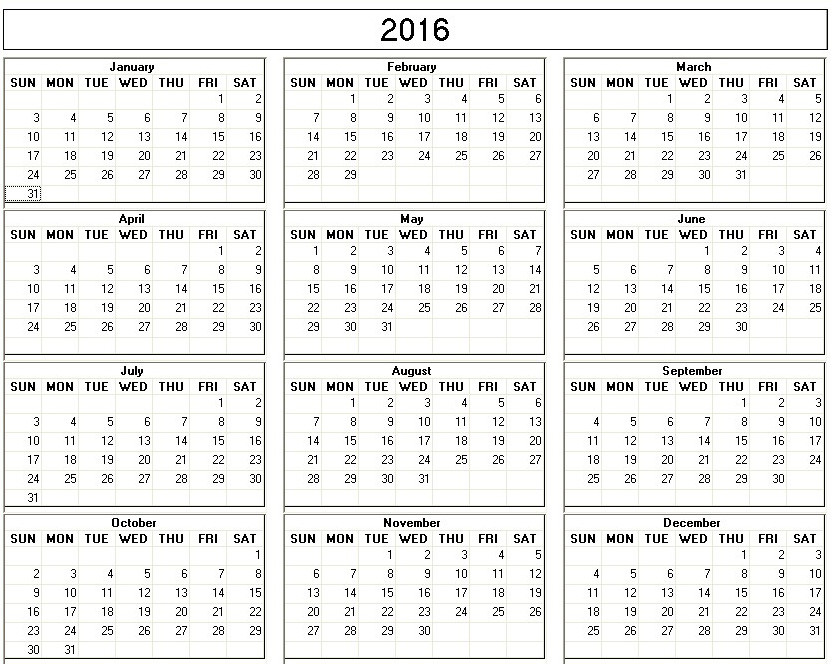 Yearly 2015 Printable Calendar back and white week starts on Sunday