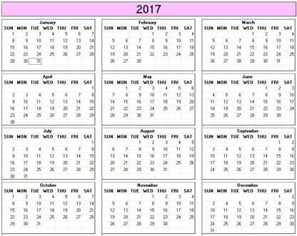 Yearly 2017 Printable Calendar - color  weekday starts Sunday
