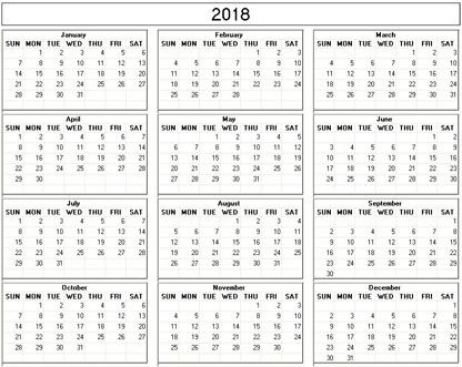 Yearly 2018 Printable Calendar - black white weekday starts Sunday - printable calendar