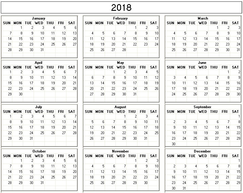 Yearly 2018 Printable Calendar back and white week starts on Sunday