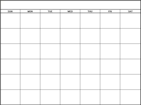 Blank Calendar Monthly Template 5 - calendar template