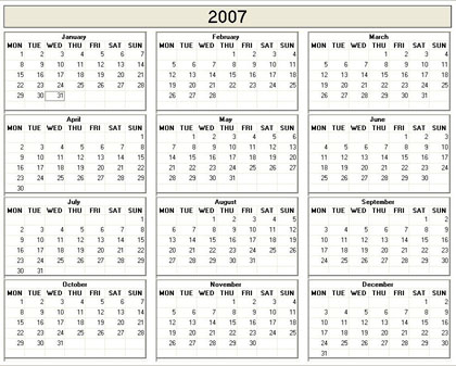 Yearly 2007 Printable Calendar - color  weekday starts Monday