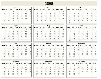 Yearly 2008 Printable Calendar - color  weekday starts Monday