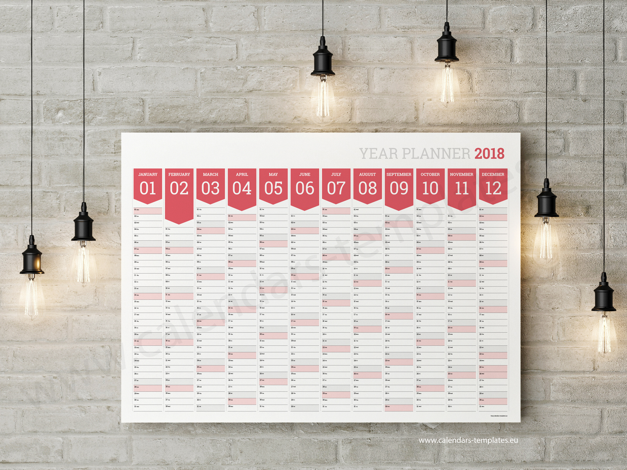 12 Month Wall Calendar Poster 2018 Wall Calendar Poster Horizontal 12 Month Yearly 2018 Horizontal Planner Template Big Printable Blank Wall