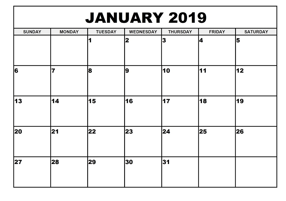 2019 Monthly Calendar Printable (January to December) Templates