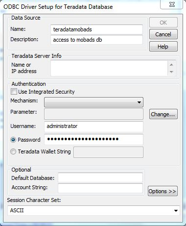 ODBC Driver Setup for Teradata Database