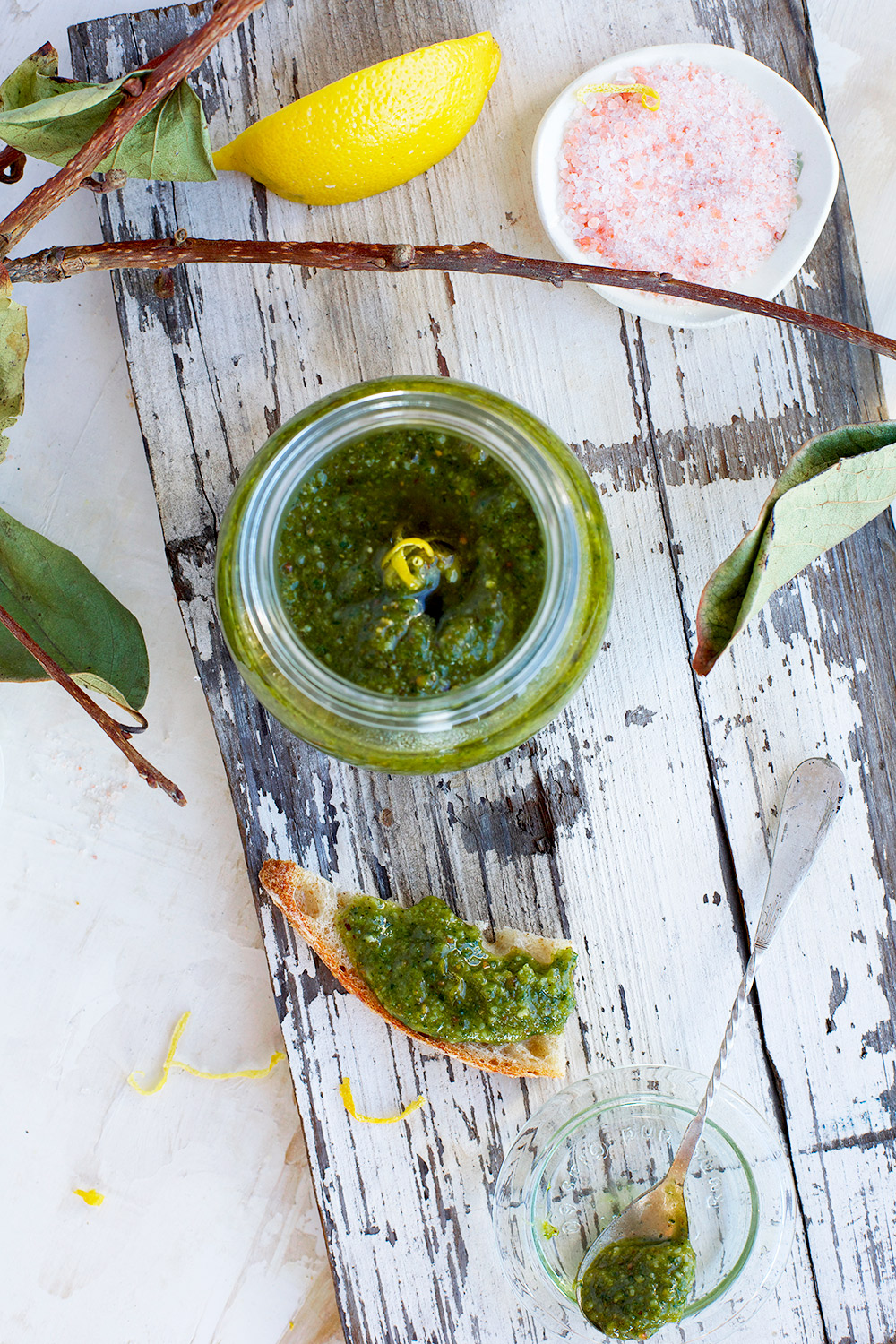 Italian Parsley Toasted Hazelnut Pesto has a bright flavor from the parsley and a warmth from the toasted hazelnuts.