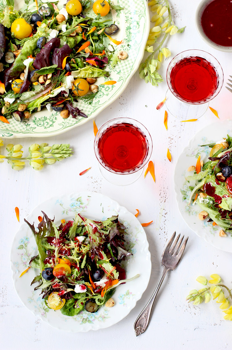 Fresh Herb And Edible Flower Salad With Hibiscus Champagne
