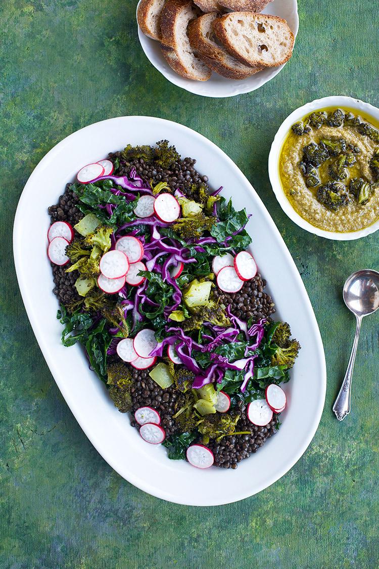 Black Lentil Kale Broccoli Salad