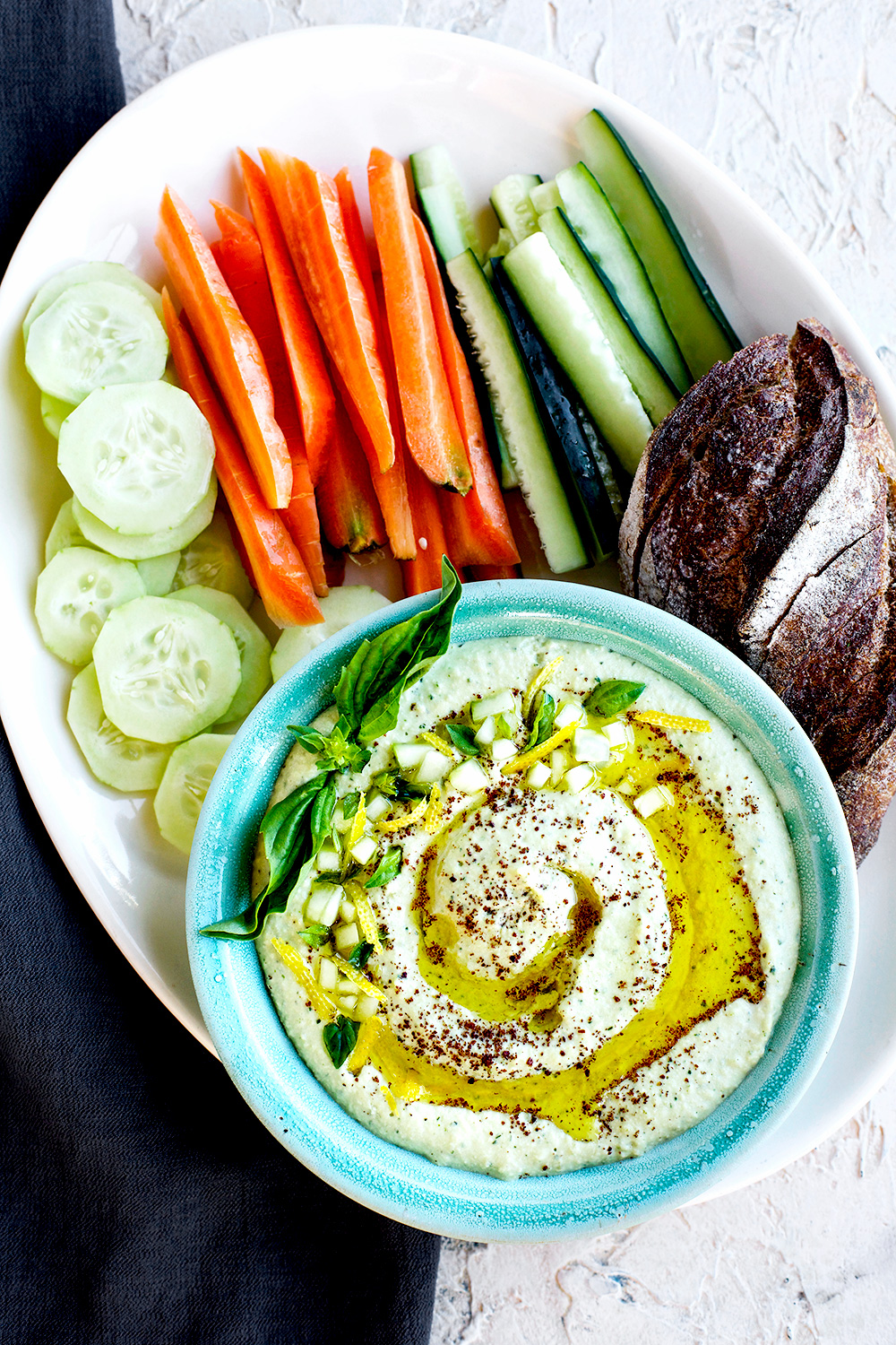 Sprouted Meyer Lemon Basil Hummus