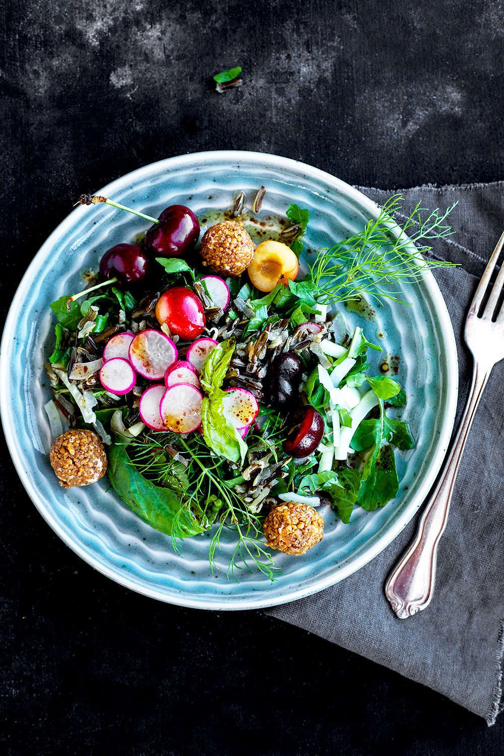 Cherry Wild Rice Salad with Toasted Walnut Chevre Balls and a Hibiscus Vinaigrette