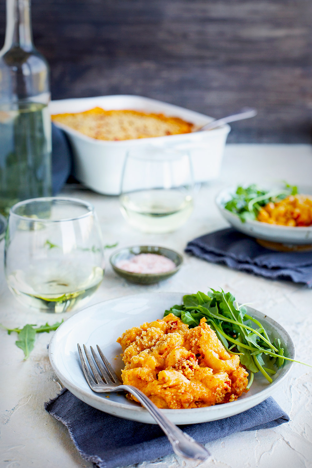 Manchego Piquillo Pepper Mac 'n' Cheese topped with Marcona Almonds