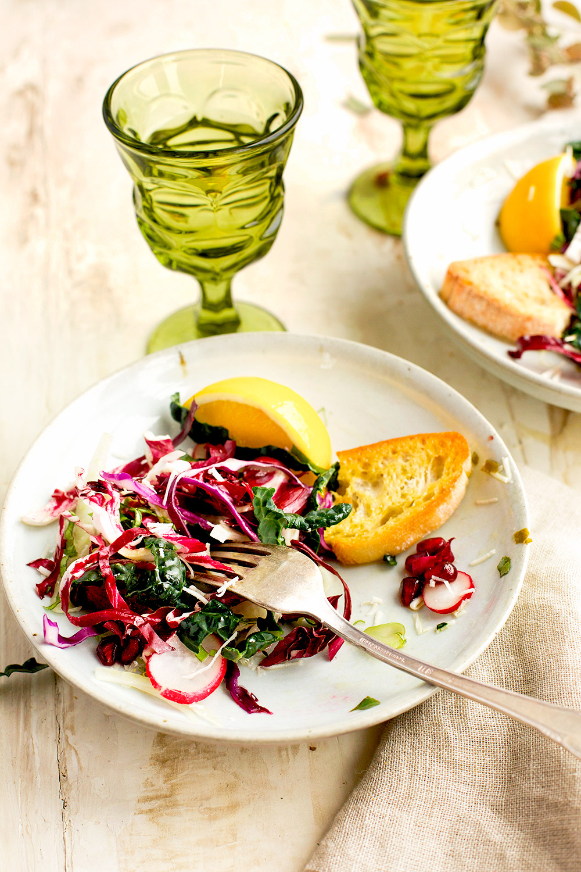 Kale Radicchio Salad with Meyer Lemon Basil Vinaigrette