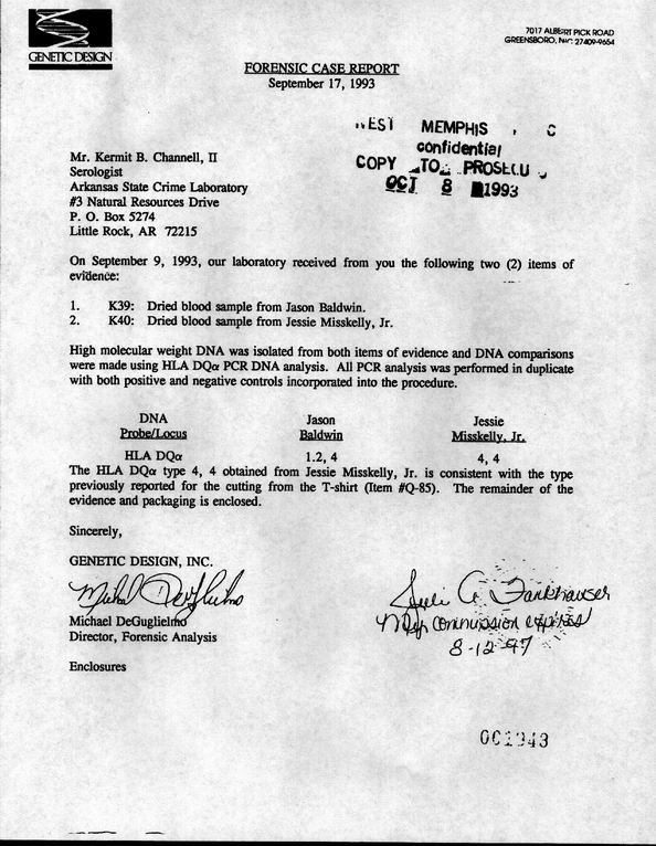 WM3 Case - Crime Lab Information - forensic report