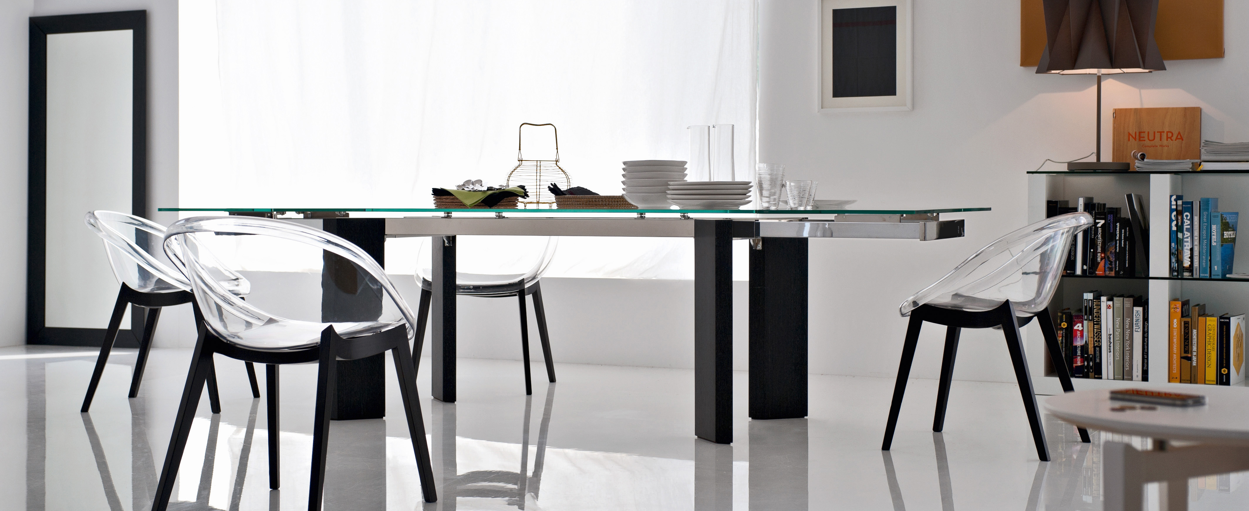 Modern Dining Table Toronto Calligaris Tower Modern Extendable Glass Dining Table