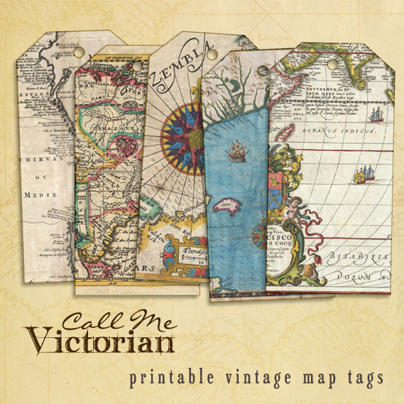 Printable Vintage Map Tags Call Me Victorian
