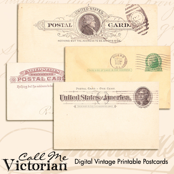 Digital Vintage Printable Postcards Call Me Victorian