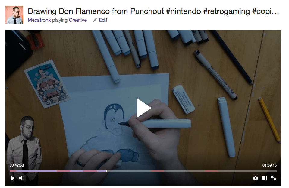 Calvin Gilbert draws Don Flamenco on twitch.tv