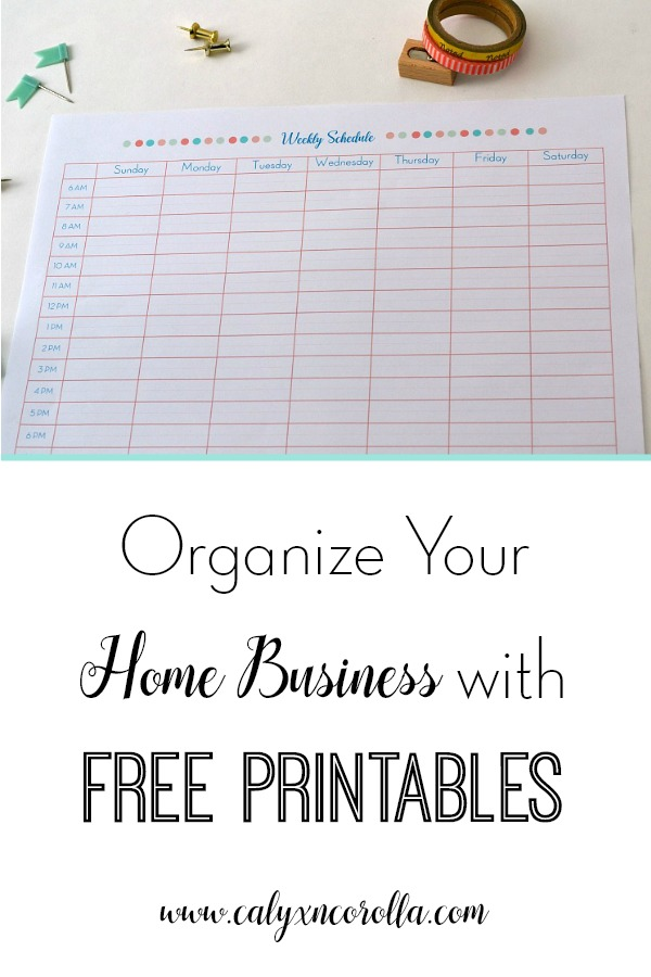 Organize Your Home Business with FREE Printables - Calyx  Corolla