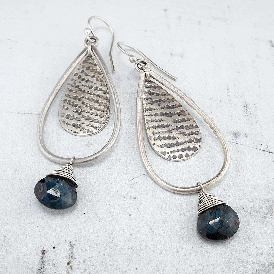 Blue Kyanite and silver drop earrings