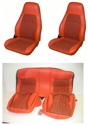 Orange Pacé 1997 - 2002 Camaro Seat Covers Set, Front And Rear, Orange