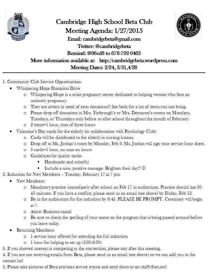 January Agenda \u2013 Cambridge Beta Club - collaboration meeting agenda