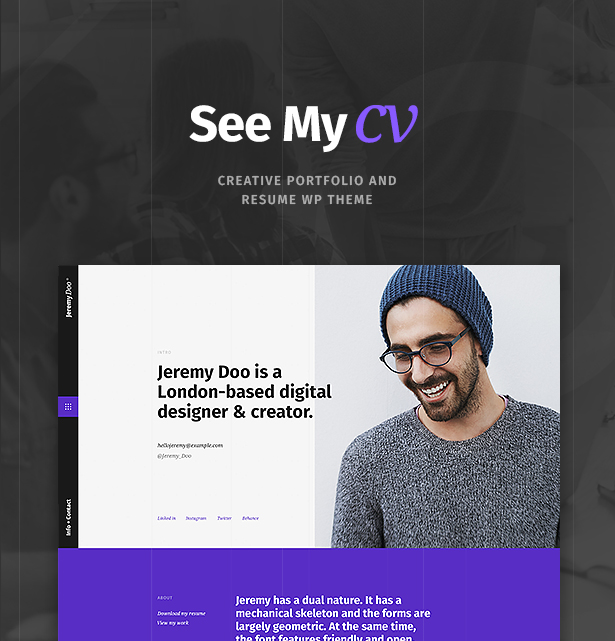 portfolio cv en ligne wordpress theme