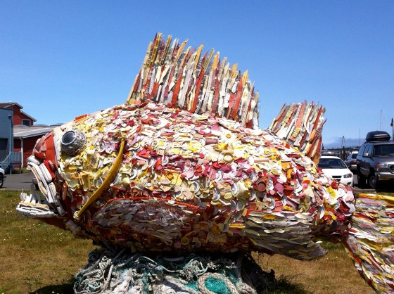 Scultpure made with recycled trash from the ocean - Bandon, OR