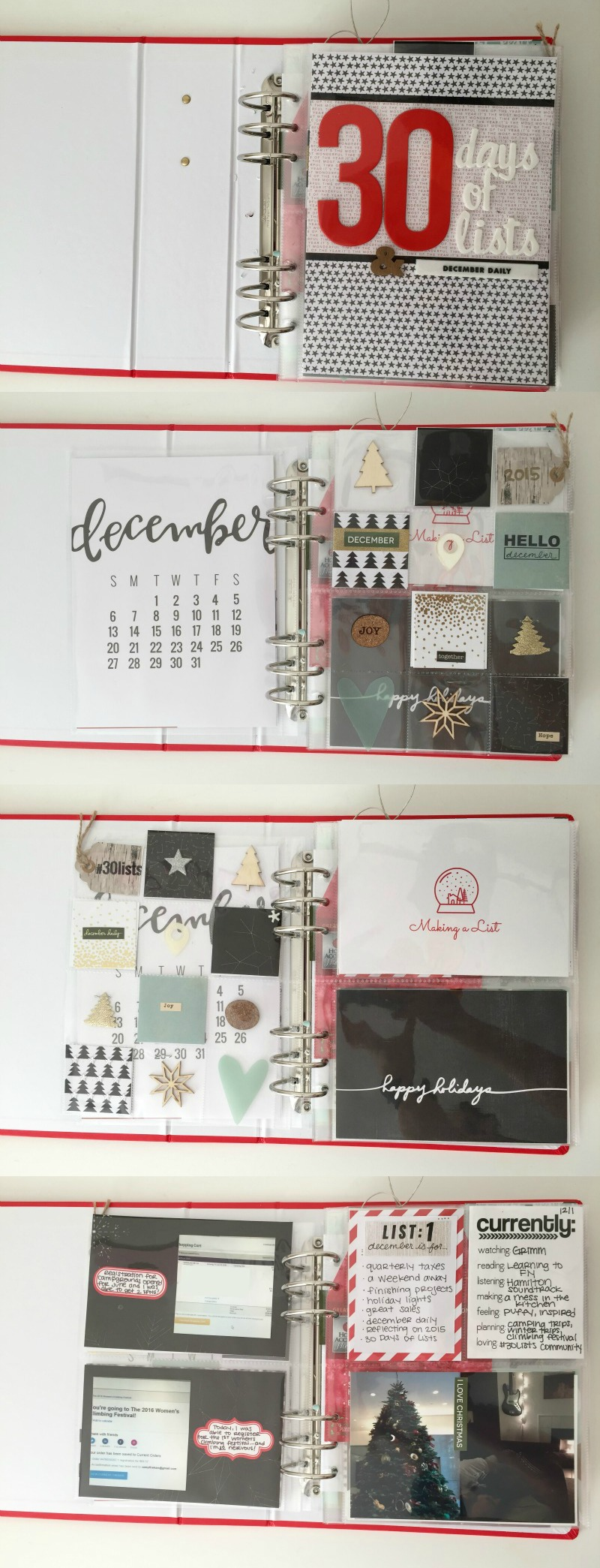 Pocket page scrapbook for December Daily® using kits from Ali Edwards and supplies from previous years. Kam of Campfire Chic also uses her December binder for the 30 Days of Lists challenge