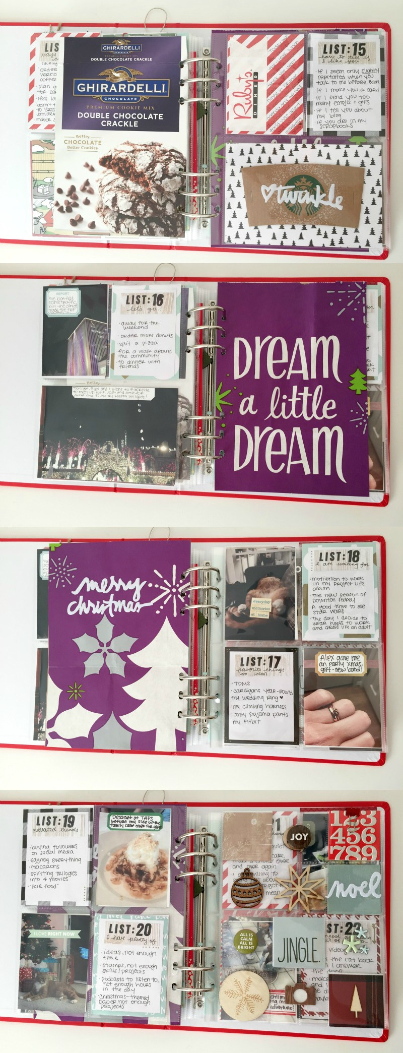 December Daily scrapbook album using pocket page sheets from Ali Edwards.