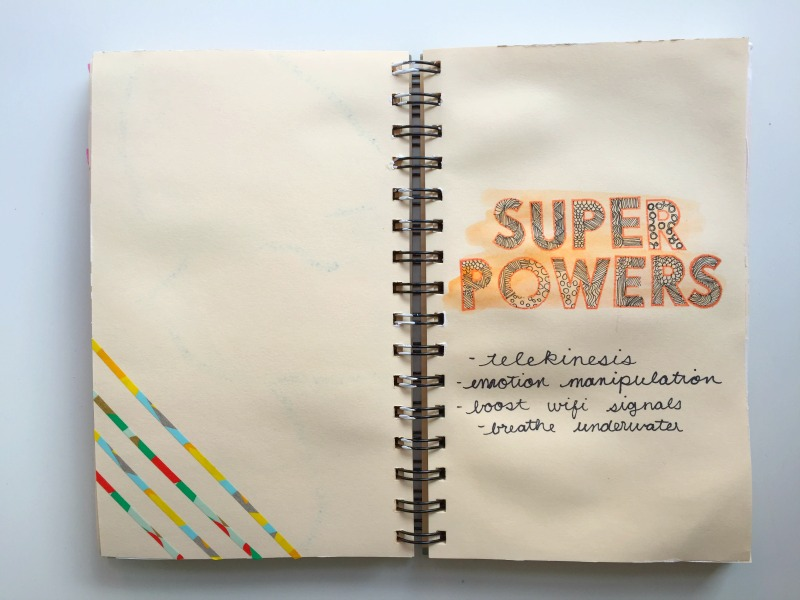 Superpowers I Would Like to Have Art Journal Entry from Kam of Campfire Chic