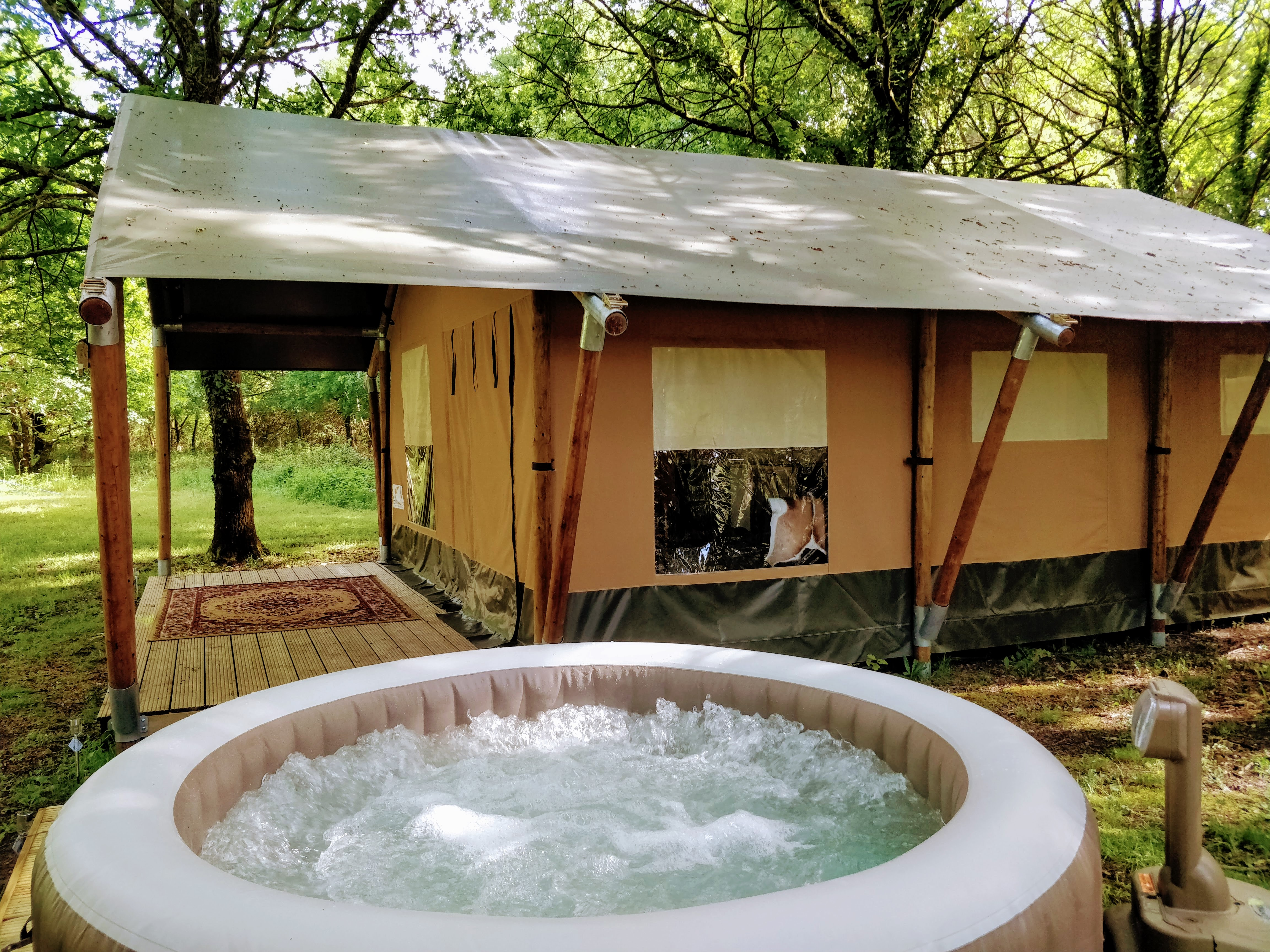 Jacuzzi Pool Opening Kit The View From The Safari Tent And Hot Tub Spa Camping