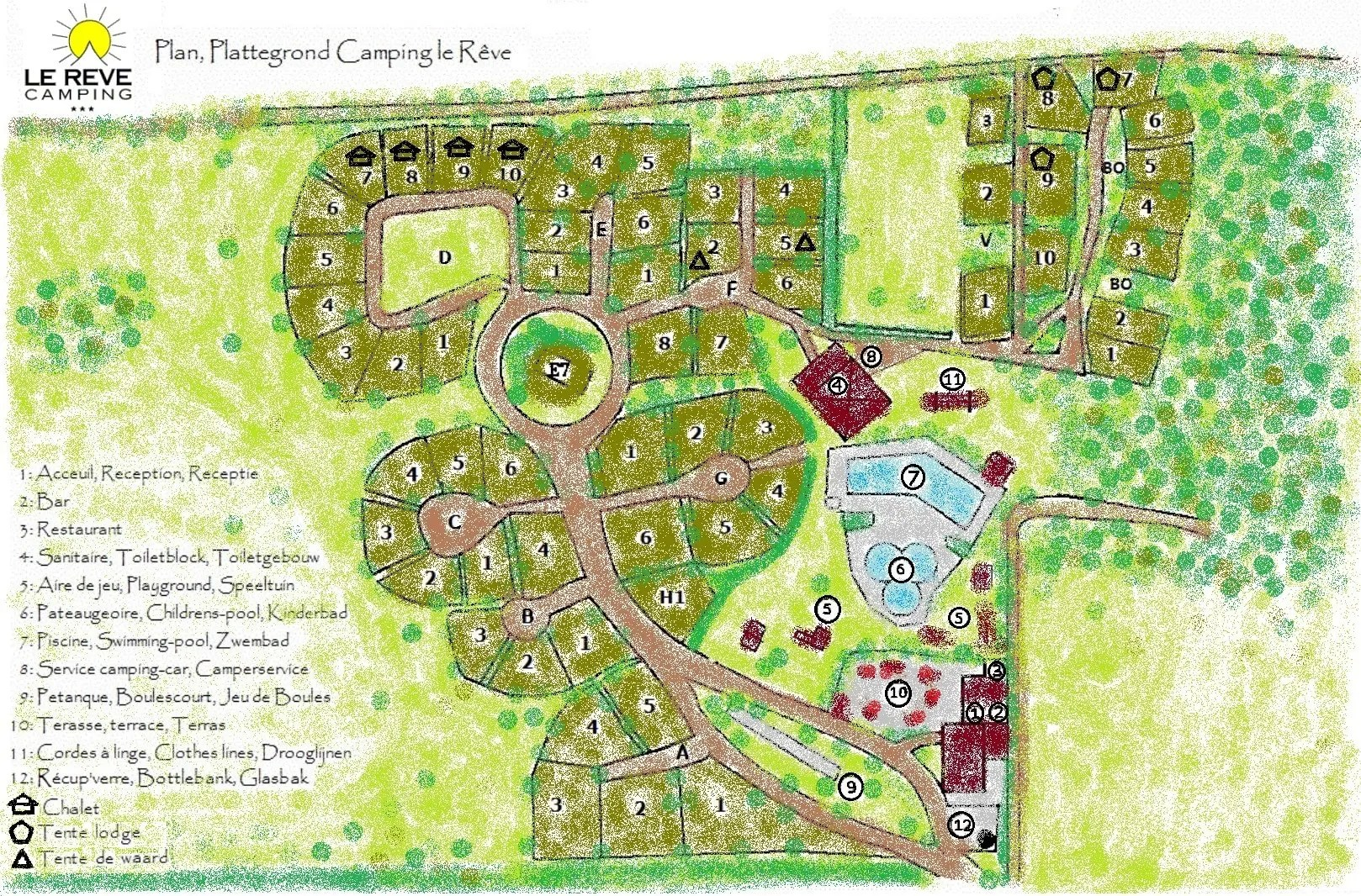 Camping Amalfikust Zwembad Map Of The Campsite 8ha Park Camping Le Rêve Lot France