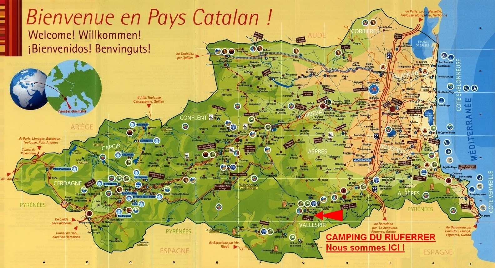 Carte Departement France Camping Du Riuferrer Département 66 Arles-sur-tech Région