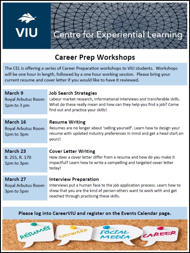 CEL Career Prep Workshop - Resume Writing Events VIU