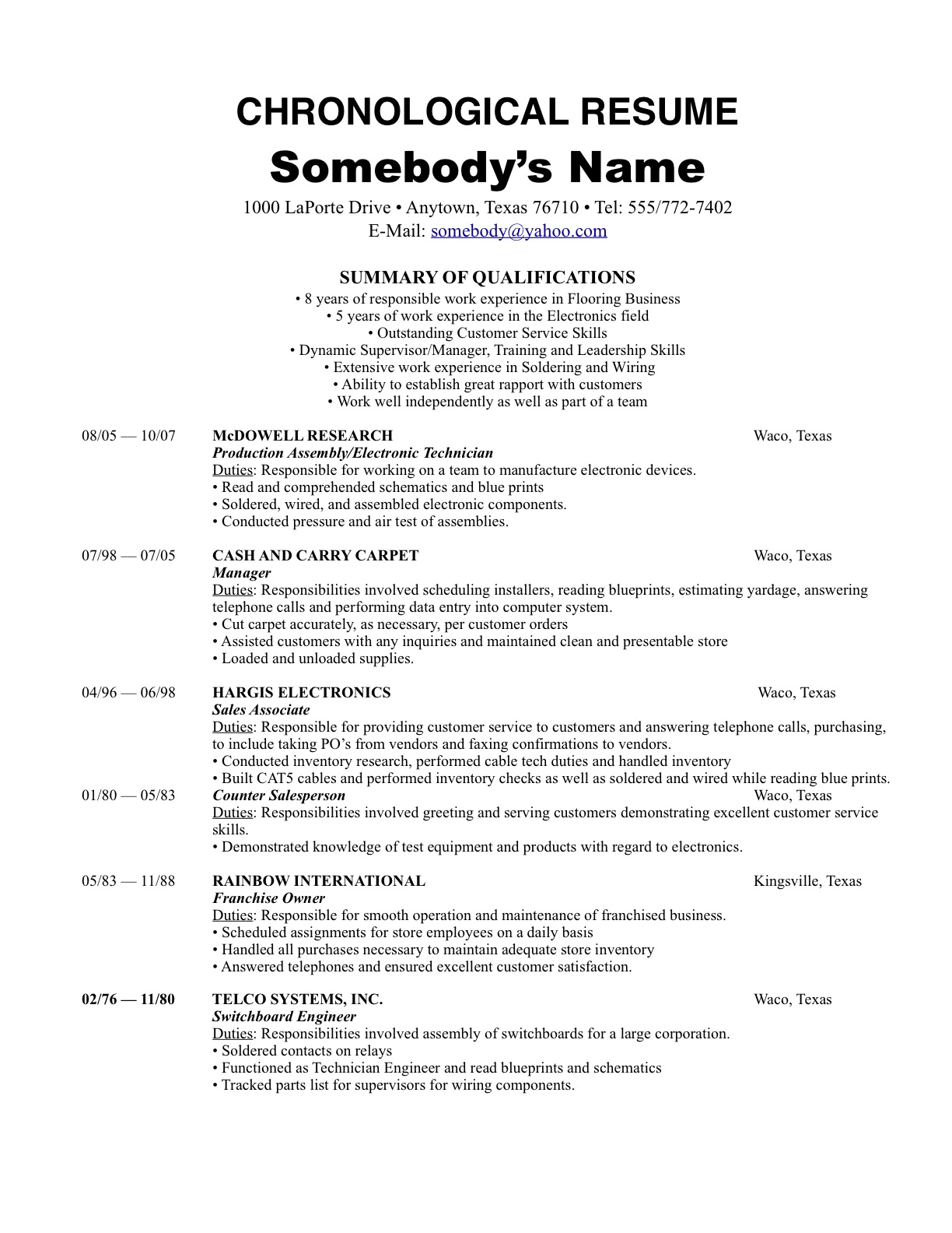 resume chronological order resume order resume order