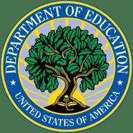 美国教育部的标志与树木生长成阳光