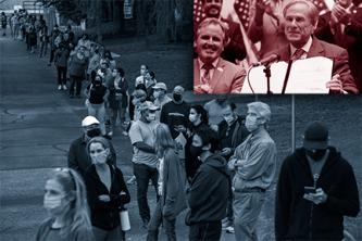 在右上方, 州长格雷格•阿伯特抱着SB微笑, 而左边的图片显示了一条长长的投票站队伍