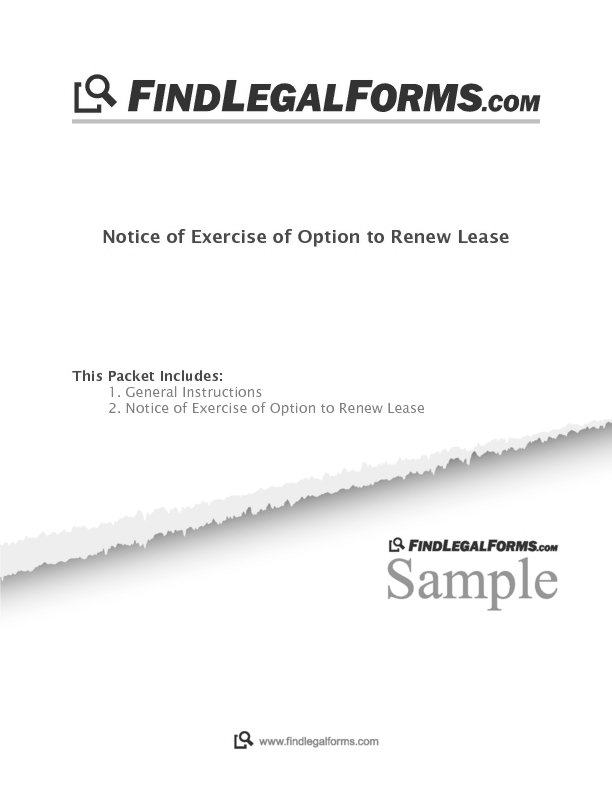Notice of Exercise of Option to Renew Lease (Canada) Sample