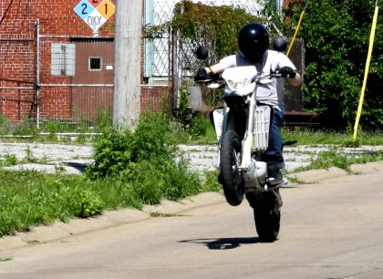 Cleveland Cyclewerks big boss Scott Colosimo preaches that bikes should be light, easy to handle, and easy to hoon around on ... and he practices what he preaches. Here's evidence. Photo: Zac Kurylyk