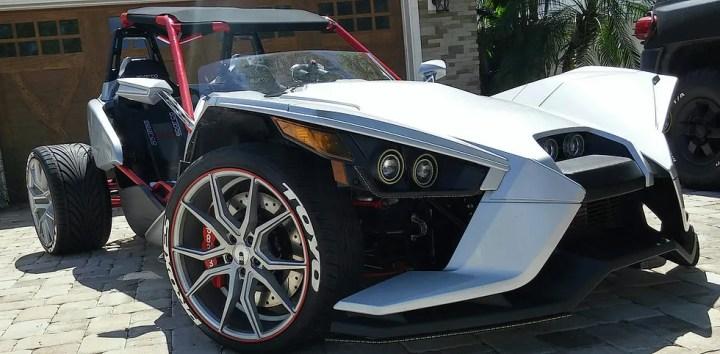 Custom shop now offering four-wheel conversion for Polaris Slingshot