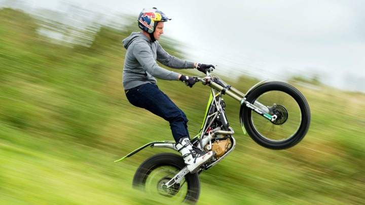 Watch Dougie Lampkin wheelie around the Mountain Circuit