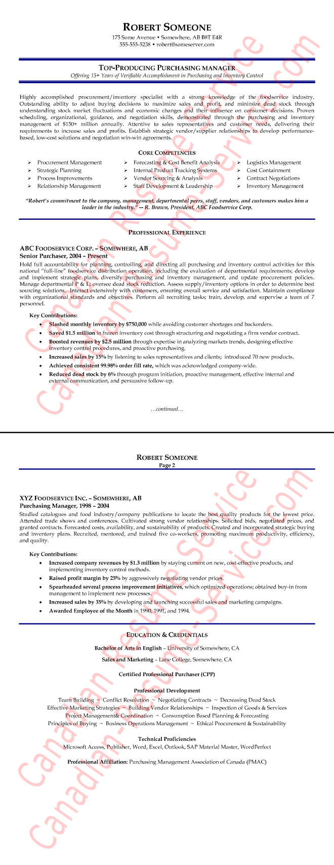 purchasing manager resume examples