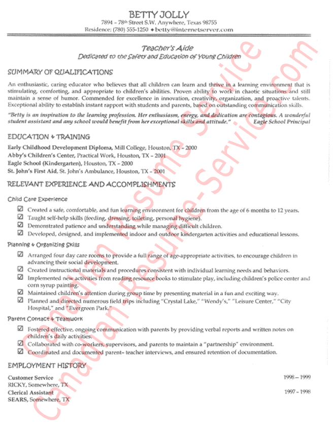 example resume for teacher aide