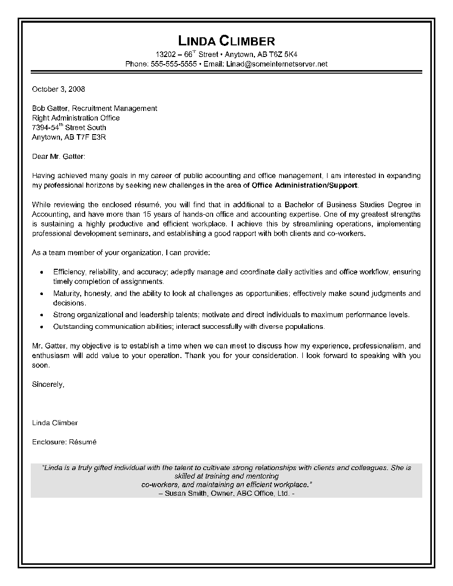 Cover Letters For Administrative Positions – Executive Letter Template