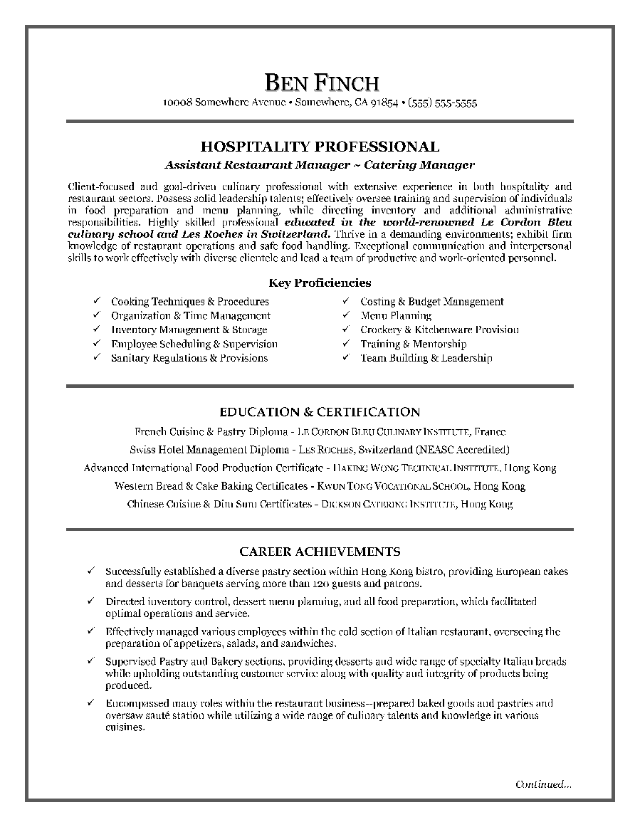 Sample Templates Hospitality Resume Writing Example