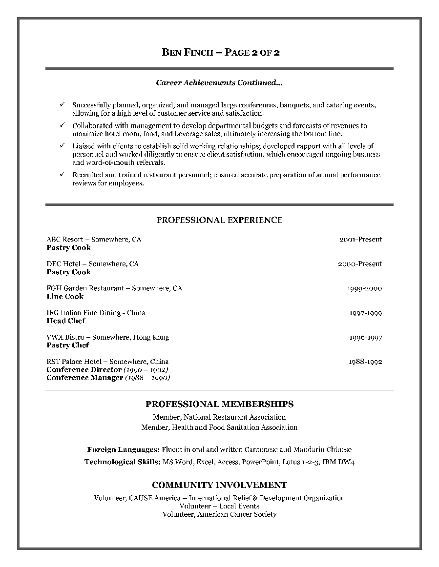 example resume work experience section resume and cover letter example resume work experience section examples of each part of a resume the balance hospitality service