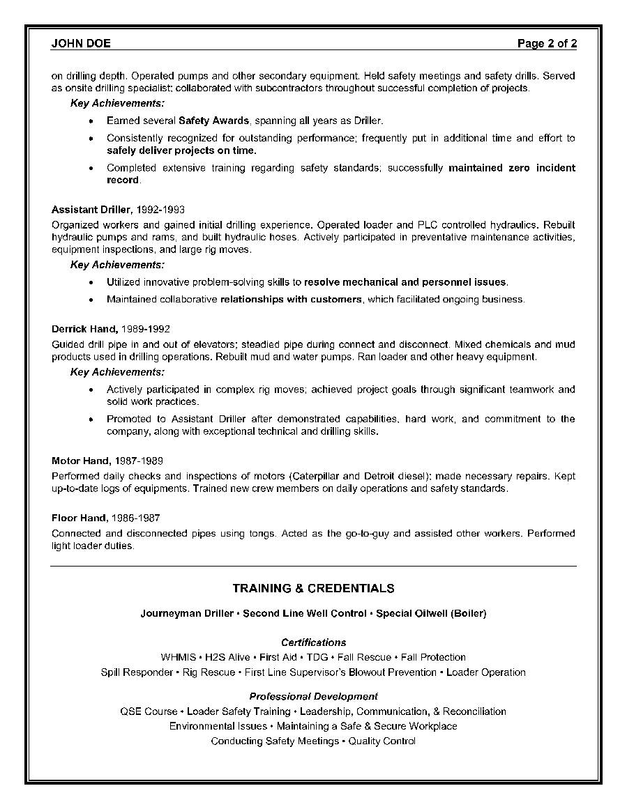 resume examples for oil and gas industry